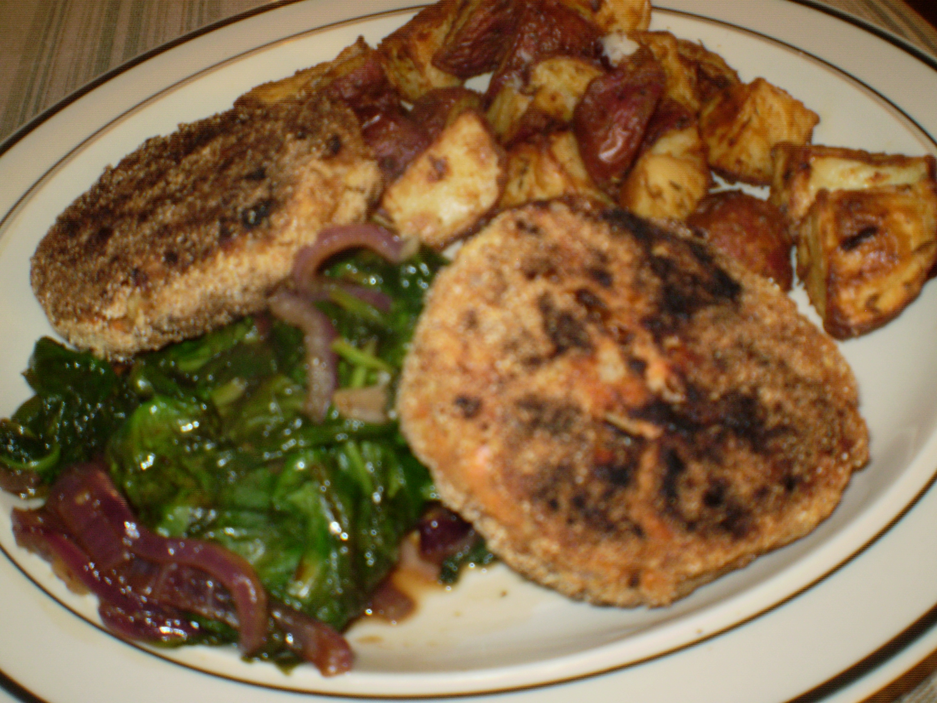... salmon croquettes on the menu: a delicious salmon cake deep fried and