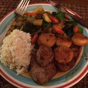 Hibachi-at-home: steak, scallops, veggies (zucchini, carrot, onion, peas), rice.